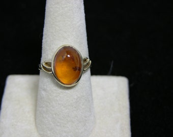 14K Gold Vintage Amber Ring Domed Amber Gemstone MoonMagicTreasures