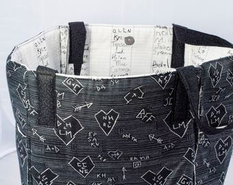 Back to School Tote, Black & White