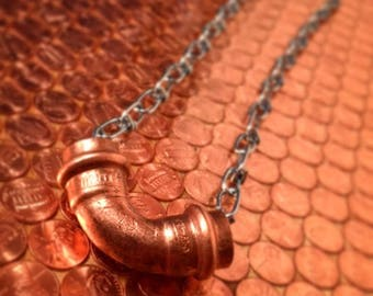 Matte Statement Necklace - Copper Elbow and Chain