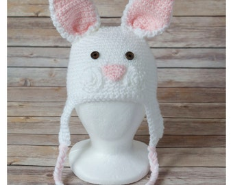 Bunny hat, hatimal, crochet, bunny rabbit, easter, hat