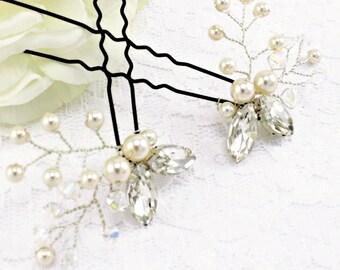 Wedding pins Bridal pins Wedding hairpiece Bridal hair accessories Bridesmaids bobby pins Prom ivory Swarovski crystal pearl Rhinestone pins