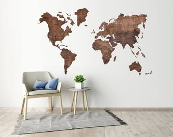 Wooden map etsy office wall art travel lover gift wall world map wooden map of the world push pin gumiabroncs Gallery