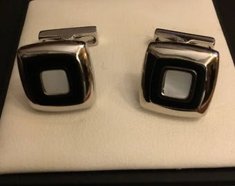 Kenneth Cole Squared Black and White Cufflinks
