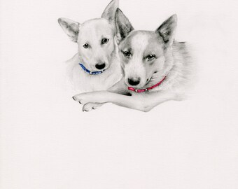 Pet Dad Gift Portrait Personalized Pet Portrait Gift for the Dog Lovers Portrait of your Furbaby Hand Drawn Art Pets Gift Memento Dog Art