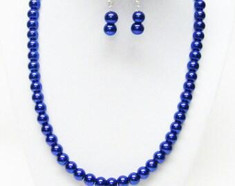 8mm Dark Lapis Glass Pearl Necklace & Earrings Set