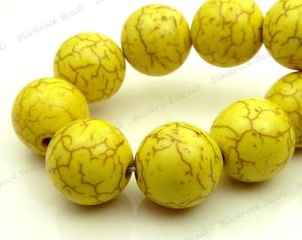 10mm Yellow Magnesite Gemstone Beads - 15.5 Inch Strand - Round, Opaque, Brown Veining - BE22