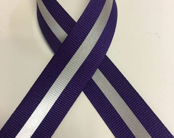 "7/8"" Deep Purple Reflective Glo Grosgrain Ribbon - 1/4"" 3M Silver Reflective Stripe  -100% Polyester / Sports - New Color!"