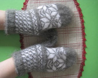 SUPER PRICE Woman wool mittens Knitted and felt mittens made of natural Angora wool yarn and goat fuzz Warm gifts Knit wool womans gloves