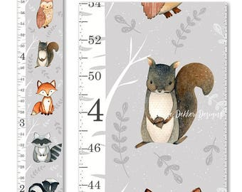 Woodland Growth Chart, Canvas Growth Chart, Fox Growth Chart, Gender Neutral Growth Chart, Woodland Decor, Height Chart, Nursery Decor
