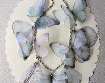 Like Glass - Handmade Silk Organza Fabric Butterflies, Dragonflies and Wings Necklace in Pale Blue and White Shades - Statement Necklace