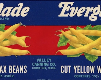 Everglade Wax Bean Vintage Can Label, 1930s