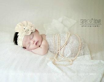 Christening Headband, Baptism  Headband, Baby headband, Preemie Headband White, Ivory, lavender and more