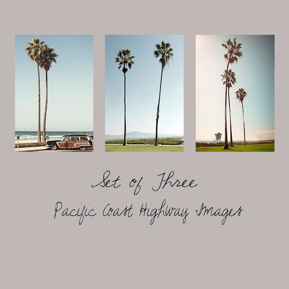 Art, Photos, So Cal Set of 3, Large Wall Art, Photos, Pacific Coast Highway, Woodie, California, Lifeguard, Palms, Vintage Color, Coastal