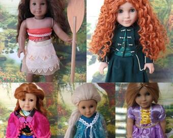 Disney Princessess (Elsa, Ana, Merida, Rapunzel, Moana) American (AG) girl 18 inch doll size 10 wigs