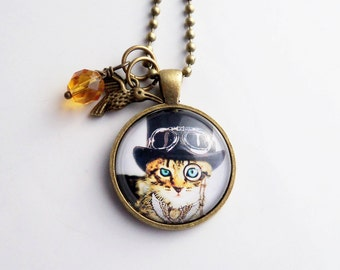 Steampunk Cat Necklace - Art Pendant -  You Choose Bead and Charm - Custom Jewelry - Fancy British Cat - Tabby Cat - Animal and Pet Jewelry