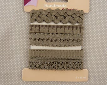 set of five ribbons and lace, taupe