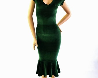 Forest Green Velvet Cap Sleeve V Neck Soft Snuggly Cozy Wiggle Dress Fun and Flirty Sexy Bombshell Style! - 153979