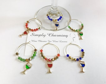 Stained Glass Look Wine Glass Wine Charms