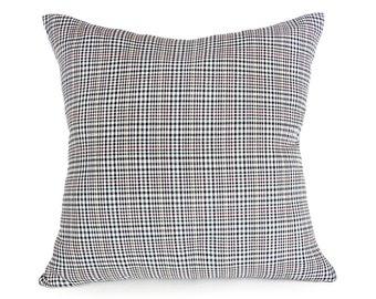 Black White Plaid Pillows, Mens Decorative Pillow, Plaid Pillow Covers, Houndstooth Pillow, Plaid Cushion Cover, Menswear Style Decor, 18x18