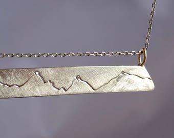 Diamond Peak Mountain Necklace, Diamond Bar Necklace, Handmade Mountain Pendant, Mountain theme, Diamond Necklace