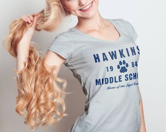 Hawkins Middle School Tiger Cubs - LADIES Slim FIT T-Shirt -  1980's School Mascot Sci-Fi Horror Parody Clothing