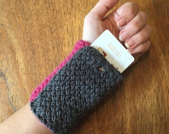 hand-knit cotton wrist wallet or cuff pouch for RFID cards ~ stylish lanyard alternative ~ multiple colors available