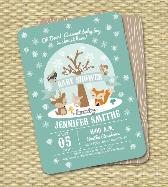 Winter Woodland Baby Shower Invitation Winter Baby Shower