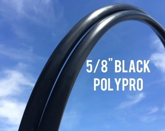 "Black 5/8"" POLYPRO Dance & Exercise Hula Hoop COLLAPSIBLE push button - midnight masculine"