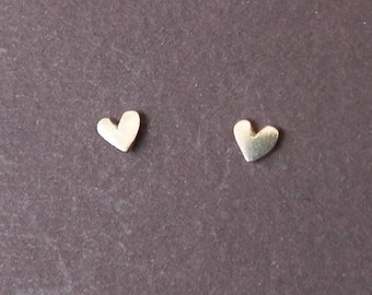 Really Tiny heart studs in 14 K yellow gold - Halloween studs - gift for girl for her for kids - bridal jewelry Valentine gift