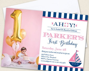 Pink Nautical Party Photo Invitations - Professionally printed *or* DIY printable