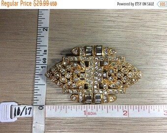 10%OFF3DAYSALE Vintage Gold Toned Pin Brooch Clear Rhinestones Convertible Used