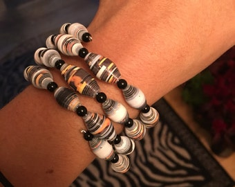 Classy paper bead cuff bracelet FREE SHIPPING Recycled upcycled repurposed paper B027.4.39 Marlisa