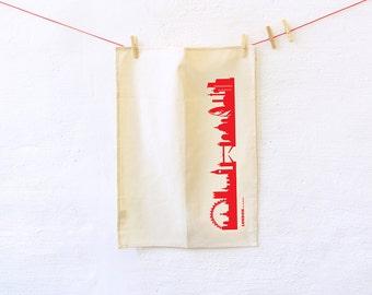 Dish towels LONDON red Flour Sack, Natural Kitchen Tea Towel, eco-friendly Organic Cotton, Urban Bohemian style, housewarming wedding gift