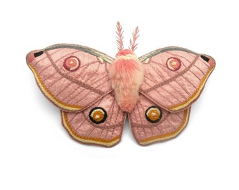 Emperor Gum Moth Hair Clip- Your Choice of Headband, Clip, or Brooch- An Embroidered Fascinator- Blushing Pink Silk