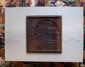 Wood Carvings for Sale, Wood Carving Cabin, Log Cabin Wood Carving, Wood Wall Art, Fishing Cabin Decor, Fish Wood Carving, Art Wood Carving