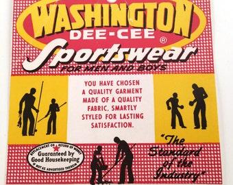 Vintage 60s, Paper Ephemera, Jeans Label, Washington Dee Cee, Washington Dee Cee Sportswear, Ephemera Paper, Vintage Illustration, Workwear