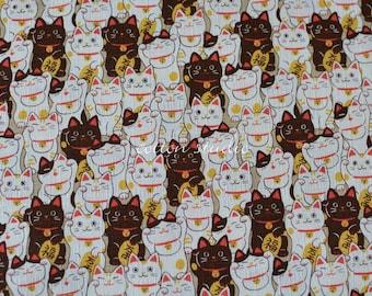 Tissu japonais chats Manekineko kaki par la Cour de la moitié