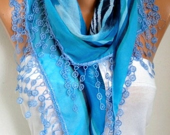 Blue Cotton Scarf,Summer Scarf,Wedding, Necklace Passover Hanukkah Gift Cowl Gift Ideas For Her Women Fashion Accessories Mother's Day Gift