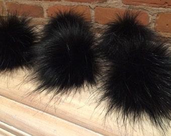 Faux Black Pom Pom, Faux Fur Pom, 4 Inch, Wispy Black Fox, Fur Ball, Knit Hat Pom Pom, Child Knit, Winter Hat, Beanie Hat, Removable Pom Pom