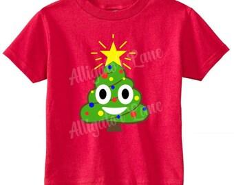 Poop Emoji Christmas Tree Shirt - Christmas T Shirt - Holidays - Baby Toddler Children Youth Adult Customized Xmas Shirt