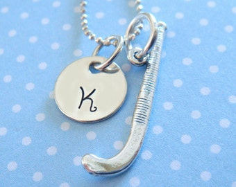 Field Hockey Necklace with Hand Stamped Initial Disc // field hockey charm // gifts for her // sports jewelry