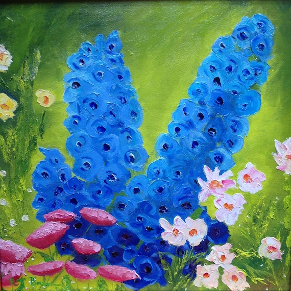 Wall Art Canvas, Canvas Painting, Blue Flowers, Oil Painting, Landscape, Monet's Garden, English Garden