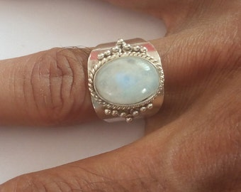 rainbow moonstone ring, Silver Ring, Silver moonstone Ring,92.5% solid sterling Silver Ring, Sterling Silver Ring, size 3-14(USA Standard)