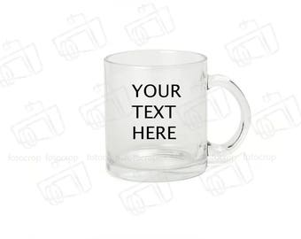 Personalized Coffee Mug Clear Glass 11oz Custom Photo Text Logo Gift New
