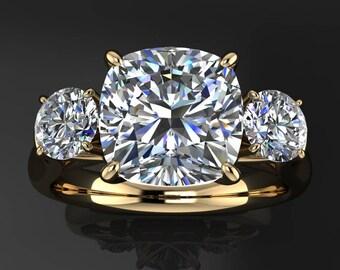 eden ring - 2 carat NEO moissanite engagement ring, 3 stone anniversary band