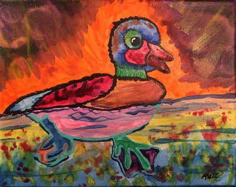 "baby duck duckling going for a swim painting 8""x10"""