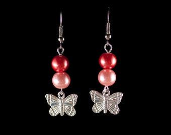 Pink Pearl Butterfly Dangle Earrings