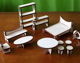 The ARC Dollhouse Furniture Set : Baltic Birch Plywood