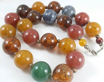 Vintage Earth tones marble swirl lucite beads choker necklace