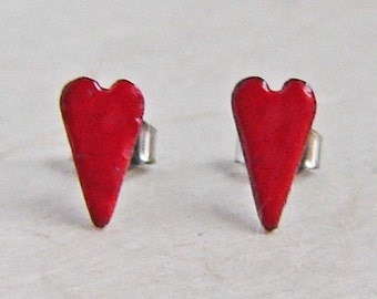 Tiny RED Heart Post Earrings, Kiln-Fired  Glass Enamel, Copper and Sterling Silver